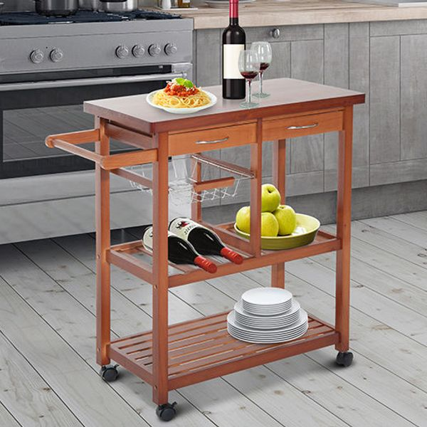 HOMCOM Wooden Kitchen Trolley Cart Basket Drawer Dining Storage Home Basics Rolling Portable Serving Cart with Drawers ,Shelves and Lockable Wheels|Aosom Canada