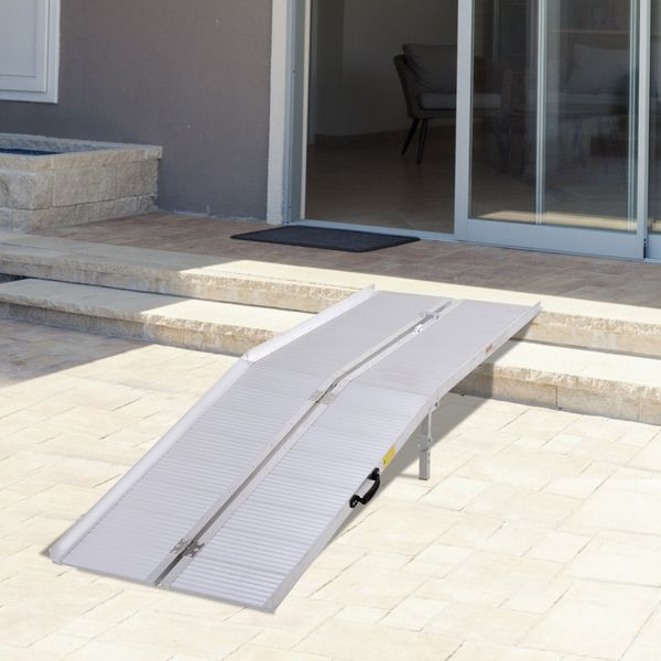 Homcom 10.2ft Foldable Portable Wheelchair Ramp Scooter Mobility Carrier Ramp, Aluminum Alloy