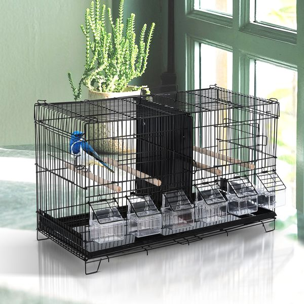 "PawHut 17.75""x9""x10.5"" Bird Cage 4 Doors 6 Food Boxes 4 Perch Pole Metal PP Pine Flight 