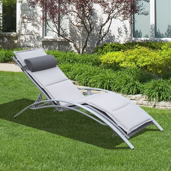 Outsunny Adjustable Patio Reclining Outdoor Chaise Lounge Chair with Cushion and Pillow (Grey)
