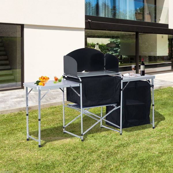Outsunny Camping Kitchen Stand 6' Portable Fold-Up with Windscreen Folding Table Picnic Aluminum Camping Cabinet Cupboard Wild Board Cooking | Aosom Canada