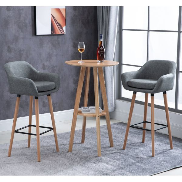 HOMCOM Modern Upholstered Fabric Seat Bar Stools Chairs Set of 2 with Metal Frame  Solid Wood Legs Living Room Dining Room Furniture Grey Pieces Bucket | Aosom Canada