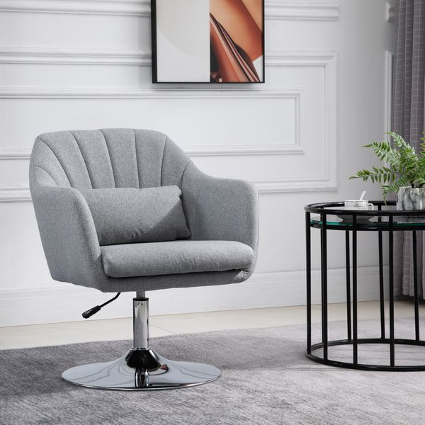 HOMCOM Leisure Chair with Metal Base  Modern Swivel Linen Sofa Chair Midback with Lumbar Support for Living Room Bedroom Office  Grey Steel|Aosom Canada