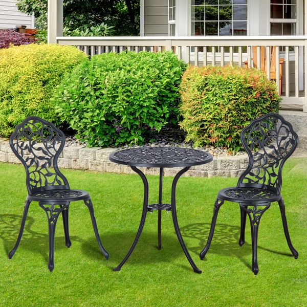 Outsunny 3 Piece Antique Style Outdoor Patio Bistro Dining Set - Black 3pcs Aluminum Table | Aosom Canada