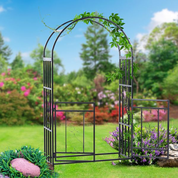 """Outsunny 81"""" Steel Garden Arch with Gate Black