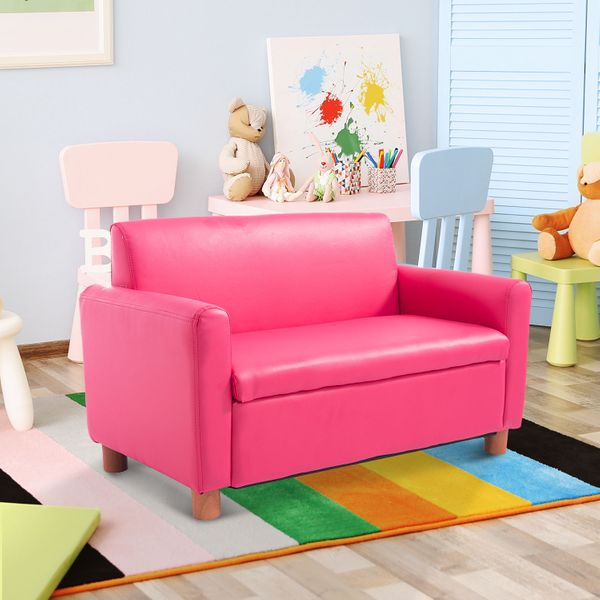 "Qaba 33"" Kids Sofa Storage Compartment Pink 