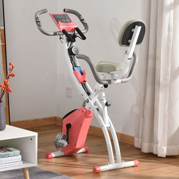 Soozier 2 in 1 Upright  Exercise Bike Stationary Foldable Magnetic Recumbent Cycling with Arm Resistance Bands Pink Folding w/ Band | Aosom Canada