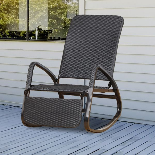 Outsunny Patio Adjustable Rattan Rocking Lounge Chair Rocker Outdoor Foldable Recliner Seat w/ Footrest Black Fold | Aosom Canada