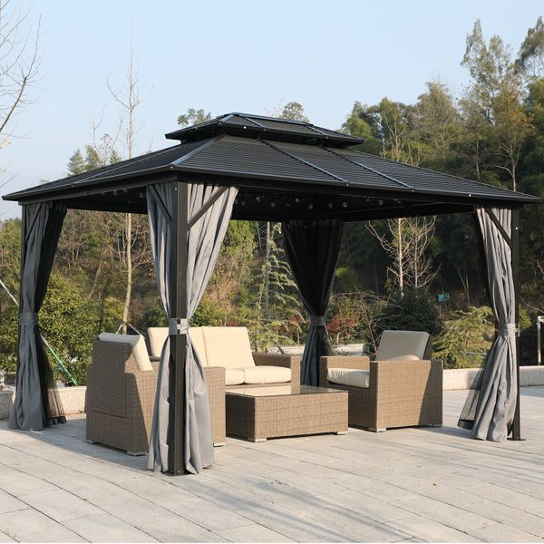 Outsunny 10' x 10' Steel Hardtop Gazebo Garden Sun Shelter with Mosquito Netting and Curtains Hanging Hook Aluminum Frame w/ Nettings Hooks Backyard | Aosom Canada