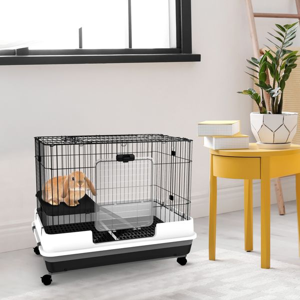PawHut Rabbit Cage Pull Out Tray with Wheels | Aosom Canada