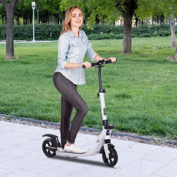 Soozier Teens Adult Folding  Scooter Adjustable Height With Brakes and Kickstand White|Aosom Canada