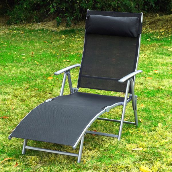 Outsunny Heavy-duty Adjustable Folding Reclining Chair Outdoor Sun Lounger Patio Chaise Lounge Garden Beach Gravity Lounge with Pillow Black | Aosom Canada