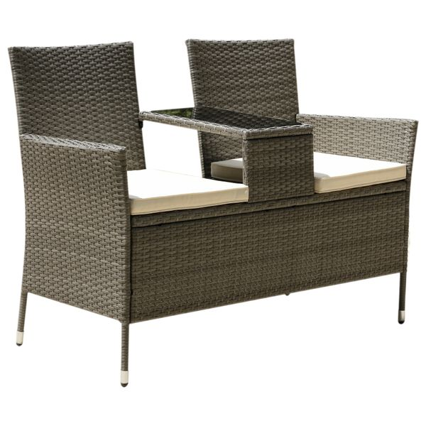 Outsunny 2 Seat Rattan Wicker Chair with Cushion Garden Bench with Tea Table Backyard All Weather Padded Seat Grey | Aosom Canada