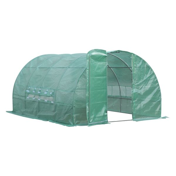 Outsunny Extra Large Walk-in Greenhouse Steel Frame PE Cover | Aosom Canada