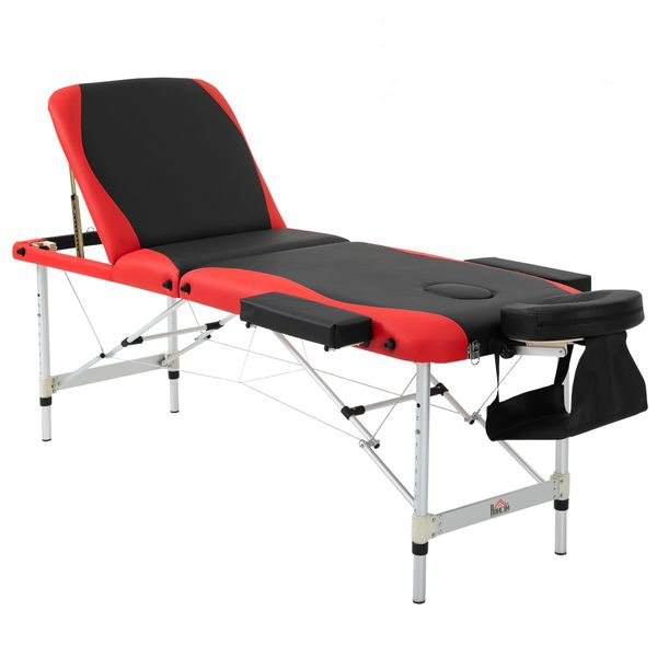 """HOMCOM Portable Massage Table 73"""" 3 Section Foldable Massage Table Professional Salon Spa Facial Couch Bed (Black/Red)"""