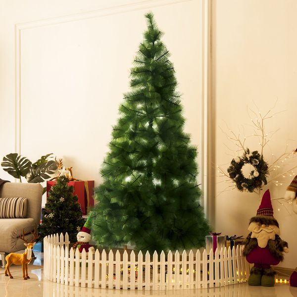 HOMCOM 6.8 FT Christmas Tree Artificial Pine Tree Christmas Decoration 505 Branches with Support | Aosom Canada