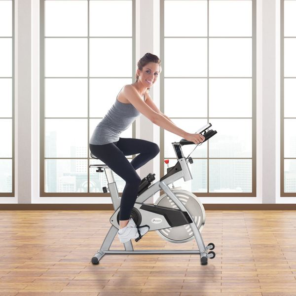 Soozier Adjustable Upright Exercise Bike Cycling Trainer Home Gym Fitness Equipment, Sliver   Aosom Canada