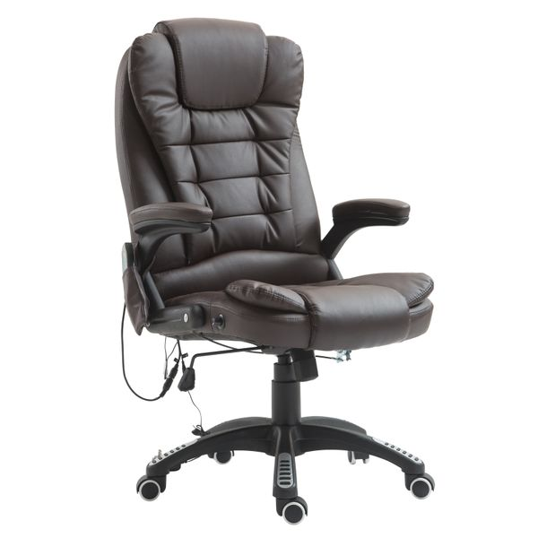 HomCom Heated Ergonomic Massage Chair Swivel High Back Leather Executive Adjustable Vibrating Home Office Furniture, Brown|Aosom Canada