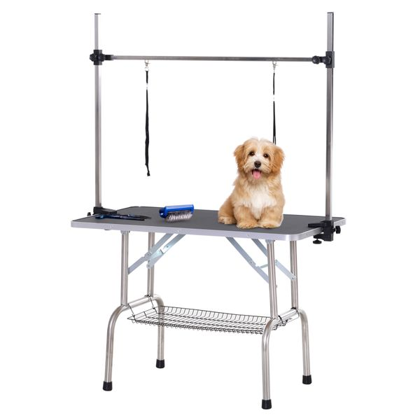 """PawHut Adjustable Dog Grooming Table Rubber Top 2 Safety Slings Mesh Storage Basket Heavy Metal Black 67"""" x 42.25"""" x 23.5"""" 