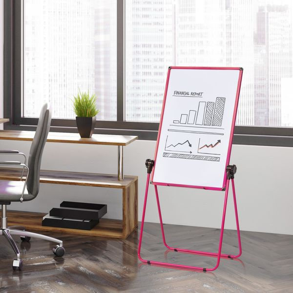 Vinsetto U-Stand Double-Sided Foldable Magnetic Whiteboard Dry Erase Board and Chalkboard Height Adjustable 360 Degree Rotating Flip for Children Adults Art Easel Painting Home Office Class Pink Rotated   Aosom Canada