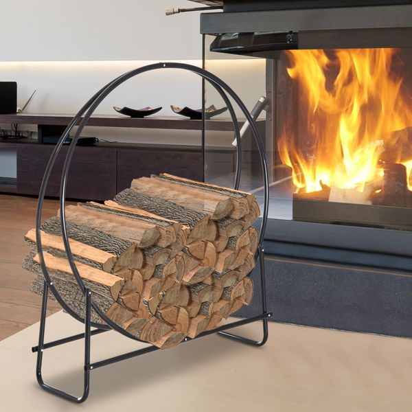 HOMCOM Heavy Duty Firewood Rack Indoor Outdoor Log Holder 264lbs. Black|AOSOM.CA
