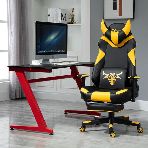 Vinsetto Racing Gaming Chair Faux Leather Bull Head with Wheels Armrest Retractable Footrest Removable Pillow Home Office Yellow | Aosom Canada