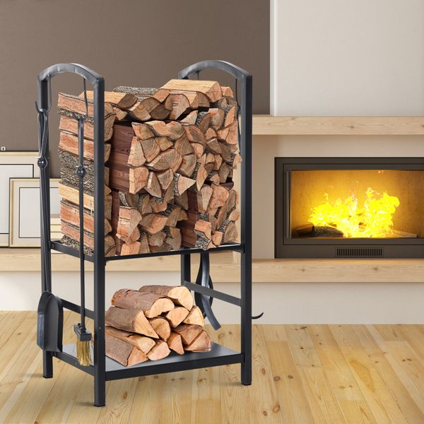 HOMCOM Heavy Duty Firewood Rack with 4 Tools Black|Aosom Canada