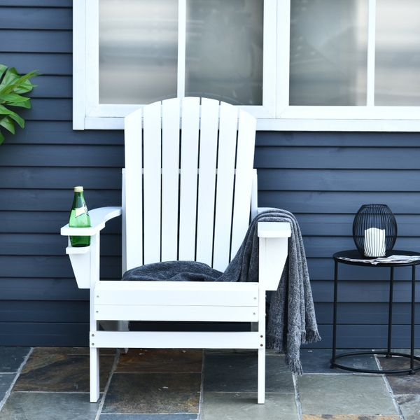 Outsunny Wooden Lounge Patio Chair LoungeDeck Reclined Outdoor Adirondack White|Aosom.ca