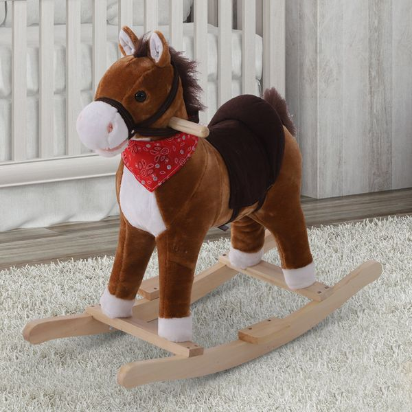 Qaba Kids Plush Rocking Horse Toy Moving Mouth & Tail with Sound | Aosom Canada