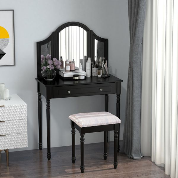 HOMCOM Black Antique Wood Makeup Vanity Table With Mirror And Bench with Stool Tri-Mirror 2 Drawers   Aosom Canada