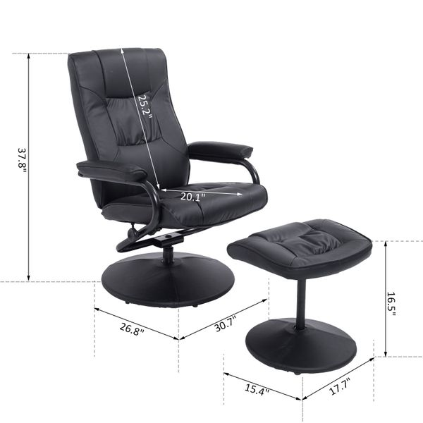 HOMCOM Recliner with Ottoman Swivel Recliner Chair Executive Armchair Lounge Leather Home Furniture Black | Aosom Canada