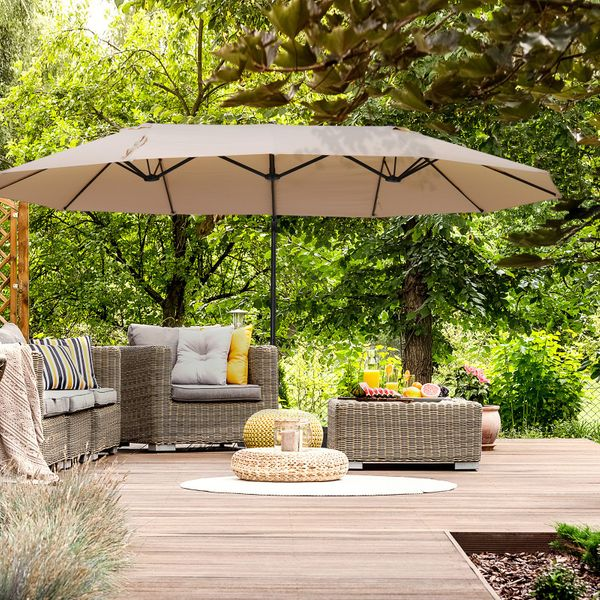 Outsunny Outdoor Patio Umbrella with Twin Canopy Sunshade Umbrella with Lift Crank Beige Large Manual   Aosom Canada
