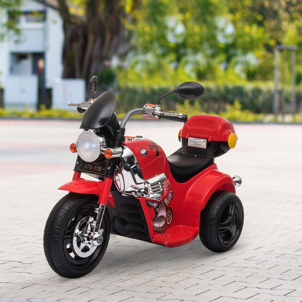 Aosom 6V Kid Electric Motorcycle Ride On Toy Battery Powered Motorbike Cars Music Headlight For 3-6 Years Old With Light Music Mp3 Storage Box Red   Aosom Canada