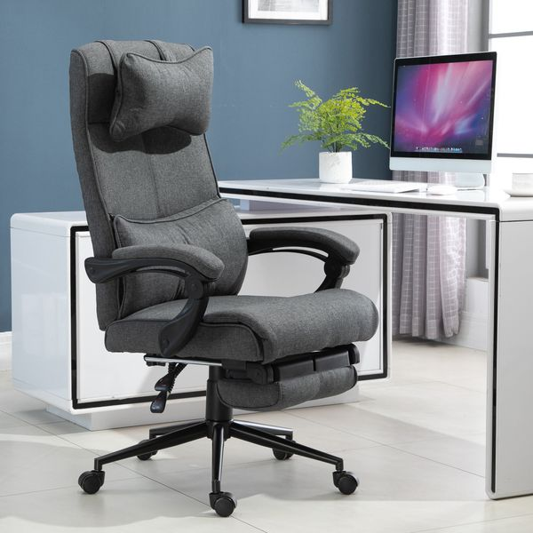 Vinsetto Ergonomic Executive Office Chair High Back Computer Desk Chair Linen Fabric 360° Swivel Adjustable Recliner Chair with Headrest, Lumbar Support, Padded Armrest and Retractable Footrest, Grey