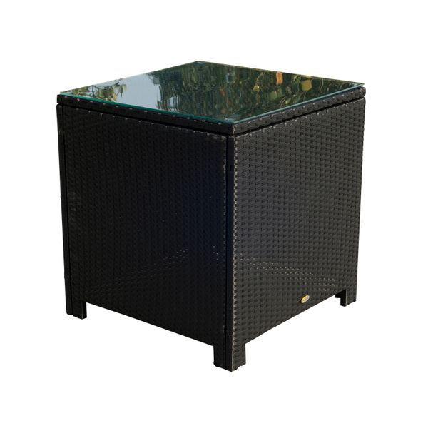 Outsunny Rattan Wicker Side Coffee Table with Glass Top Outdoor Patio Furniture Black|Aosom.ca
