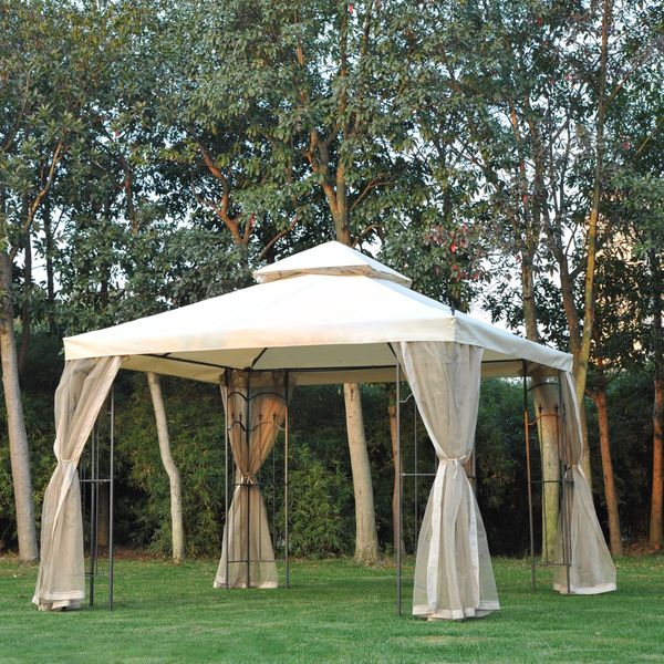 Outsunny 10x10ft Garden Gazebo Double Top Outdoor Canopy Patio Event Party Tent Backyard Sun Shade with Mesh Curtain Beige
