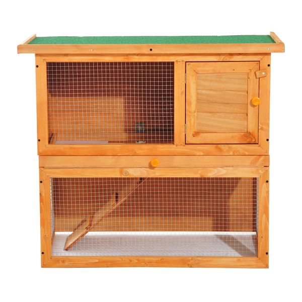 "Pawhut 35"" 2 Tiers Rabbit Hutch Wooden Pet Cage Backyard Run Outdoor Garden Vintage Chicken Coop Small Animal House 