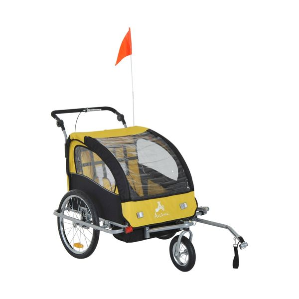 Aosom 2-in-1 Double Child Kids Baby Bike Trailer Stroller & Jogger Black/Yellow | Aosom Canada