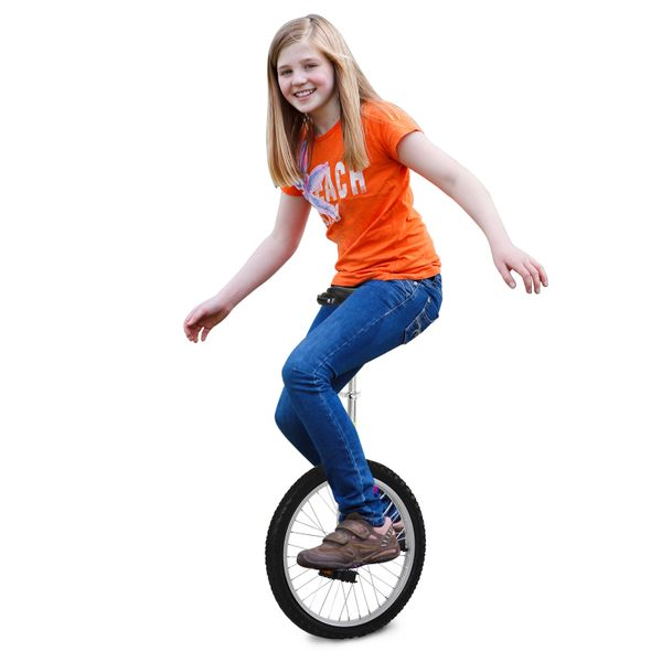 """Soozier Professional Unicycle Uni-Cycle Cycling 20"""" Chrome Plated Pneumatic Wheel with Adjustable Height Free Stand Monocycle Funny Acrobatics Bikes   Aosom Canada"""