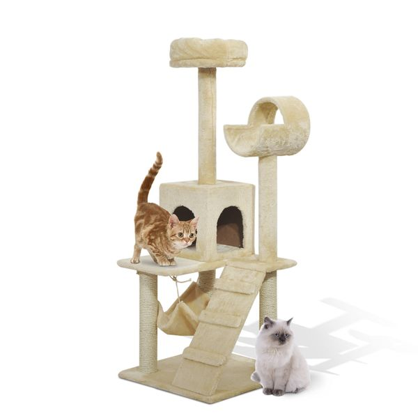 Pawhut Cat Scratching Tree Condo Luxury 52Inch Pet Bed Tower House Furniture Kitten Scratch Activity Center with Hammock Beige | Aosom Canada