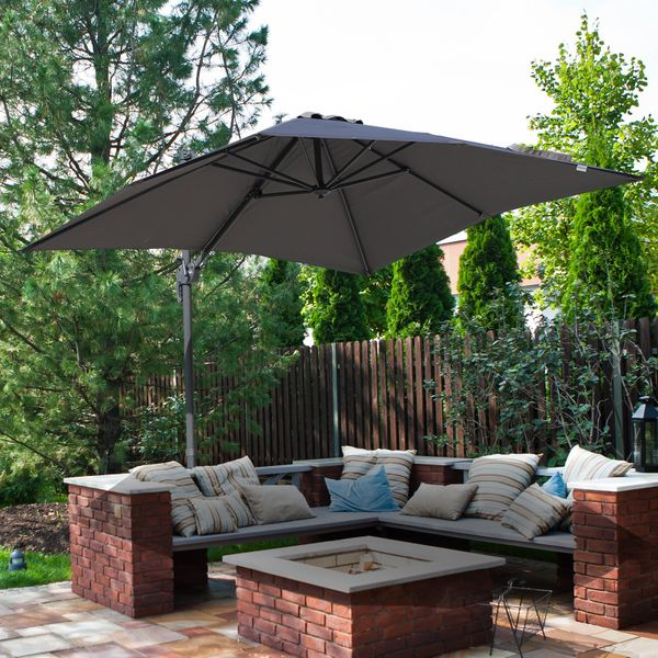 Outsunny 8'x8' Square Patio Offset Hanging Cantilever Umbrella 360° Rotation w/ Cross Base Grey | Aosom Canada