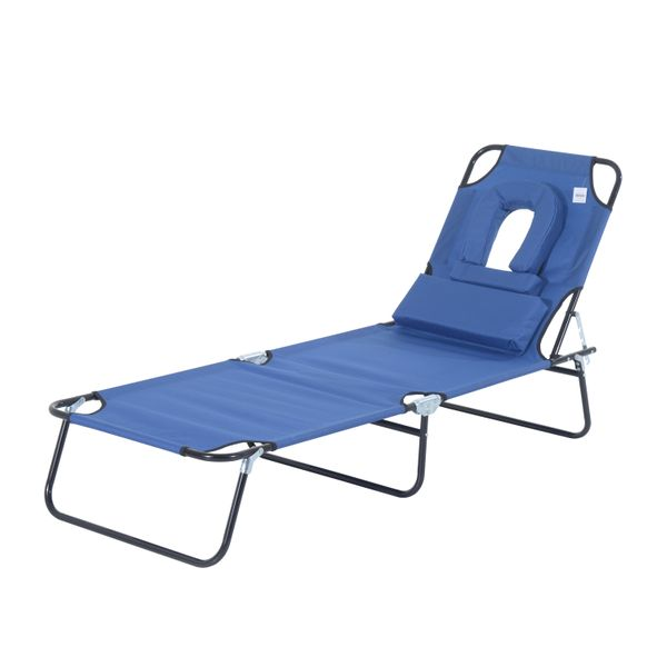 Outsunny Adjustable Garden Sun Lounger w/ Reading Hole Outdoor Reclining Seat Folding Camping Beach Lounging Bed Blue|Aosom Canada