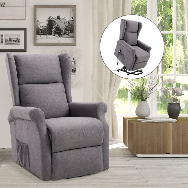 HOMCOM Electric Power Lift Recliner Chair w/Remote Control Linen Fabric|Aosom Canada