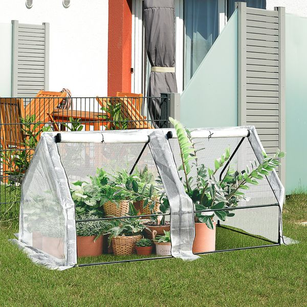 Outsunny Walk-in Plant Greenhouse Roll-up zippered Doors Over-long cover|AOSOM.CA