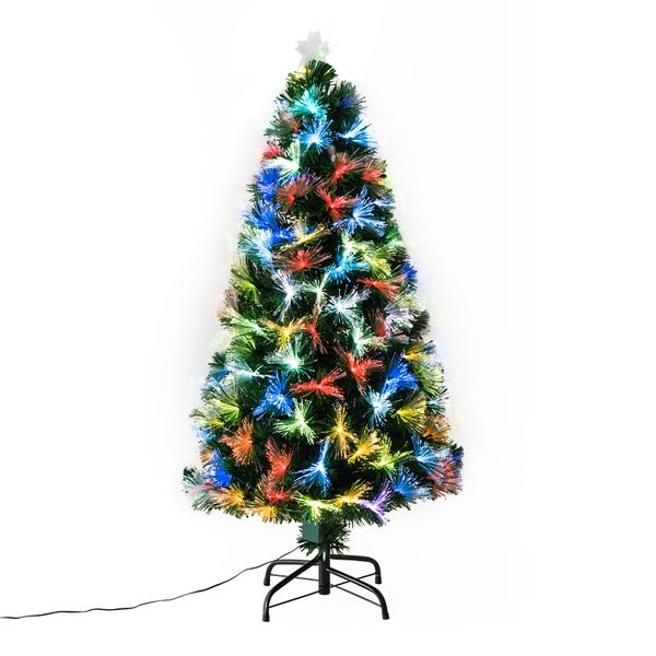 HOMCOM 4ft Pre-Lit Optic Fiber Christmas Tree Top Star w/ Stand | Aosom Canada