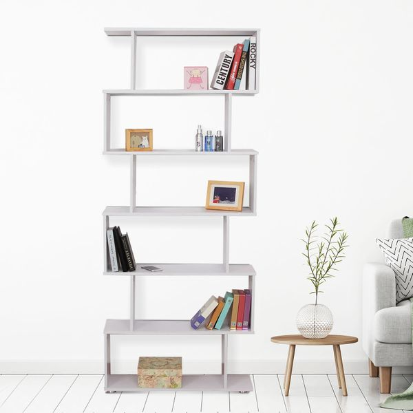 HOMCOM 6 Tier Wooden Bookcase S Shape Storage Display Unit Divider Furniture  Home Office White | Aosom Canada