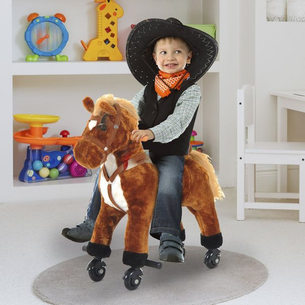 Qaba Kids Walking Pony Ride on Horse Rocking Toy with Wheels & Footrest Neigh Sound Brown | Aosom Canada