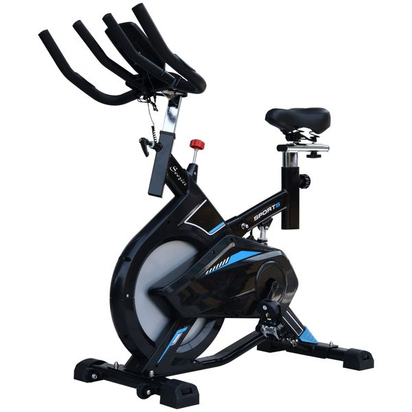 Soozier Stationary Exercise Bike Cardio Workout w/ LCD Monitor 28.6lb Indoor Cycling Bicycle Trainer Heart Pulse Sensor Flywheel|Aosom Canada