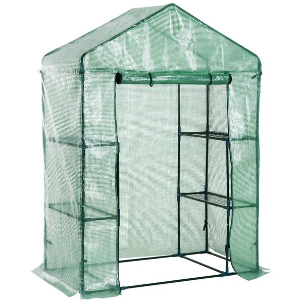 Outsunny Walk-in Plant Greenhouse Portable Garden Flower Seed Warm House w/ 2 Tier 4 Shelves Green|Aosom Canada
