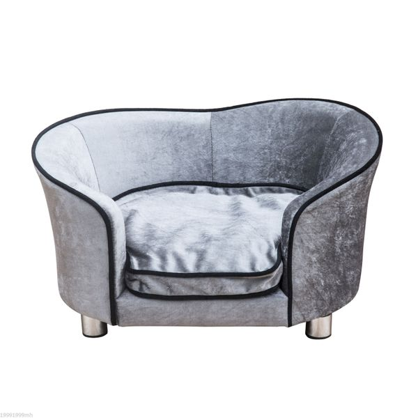 PawHut D04-016 Pet Sofa Bed Dog Cat Cozy Puppy House Couch Furniture with Removable Cushion Silver Grey|Aosom Canada